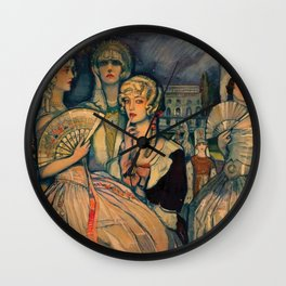 Marion Davis Monumental Portrait of the Gilded Age landscape painting by Federico Beltran Masses Wall Clock