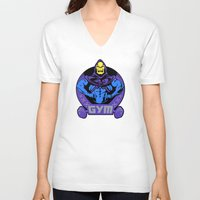 gym V-neck T-shirts featuring Skeletor's gym by Buby87