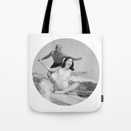 Tandem Couple Surfing Tote Bag