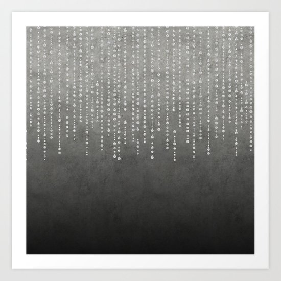Silver Glamour Faux Glitter on grey Texture Art Print
