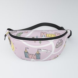 Childish seamless pattern with princess and dragon Fanny Pack