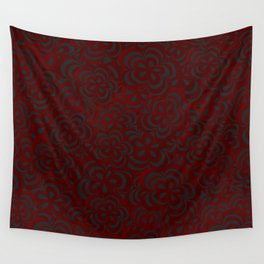 Red Floral Velvet Wall Tapestry