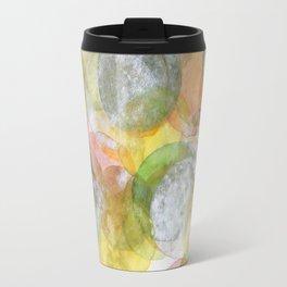 Silver Green Yellow Circles Travel Mug