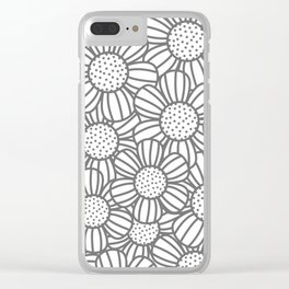 Field of daisies - gray Clear iPhone Case