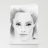 angelina jolie Stationery Cards featuring Angelina Jolie by Paint the Moment