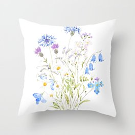 white purple and blue wildflowers  Throw Pillow