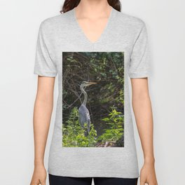 Gray heron on the edge of a pond Unisex V-Neck