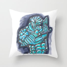 Cyberpunk Power Armor Android with Broken Sword Throw Pillow