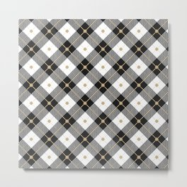 Black and White Plaid Metal Print