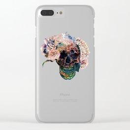 Skull Flowers - MidnightBlue Clear iPhone Case