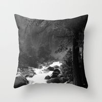 archan nair Throw Pillows featuring Whiteout Yosemite-2 by Deepti Munshaw