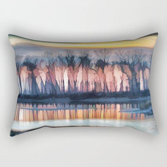 Painterly Woodland and Pond Sunset Rectangular Pillow