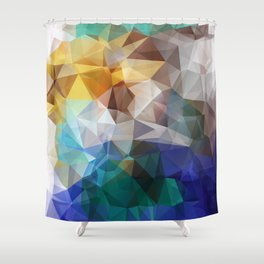 Abstract background of triangles polygon print. Bright design colors Shower Curtain