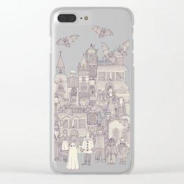 vintage halloween purple ivory Clear iPhone Case