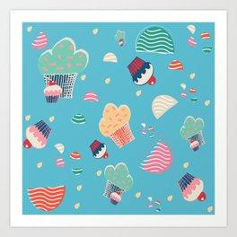 Cupcake blue Art Print