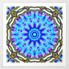 Liquid Blue Kaleido Pattern Art Print