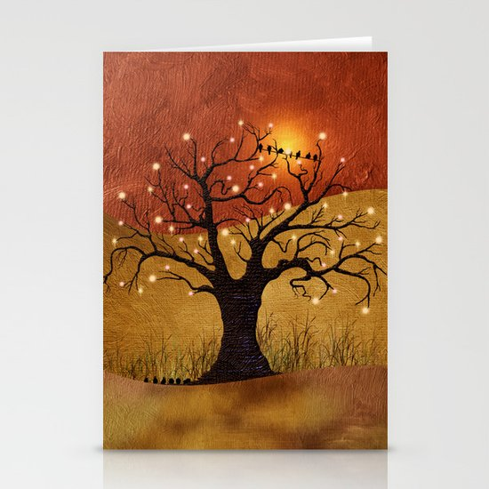 sunset and lights Stationery Cards