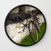 cycle Wall Clocks featuring Cycle by Sarah Ridings