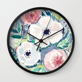 White Anemone Floral Wall Clock