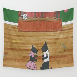 At the Hop-Scotch - Scotties - Scottish Terriers Wall Tapestry