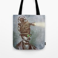 victorian Tote Bags featuring The Projectionist (colour option) by Eric Fan