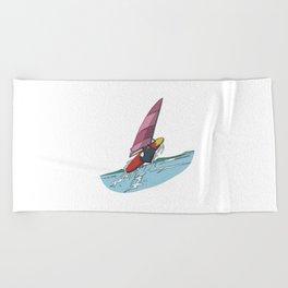 Penguin windsurfing surfer jumping Beach Towel