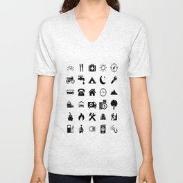 Extreme White Icon model: Traveler emoticon help for travel t-shirt Unisex V-Neck
