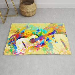 Music instruments colorful painting, guitar, treble clef, butterfly Rug