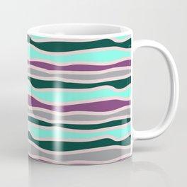 Geometrical mauve violet teal gray forest green stripes Coffee Mug