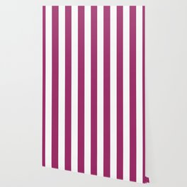 Amaranth deep purple - solid color - white vertical lines pattern Wallpaper