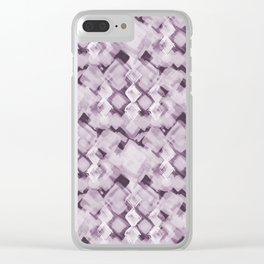 Square Pastel Dusky Pink Pattern Clear iPhone Case