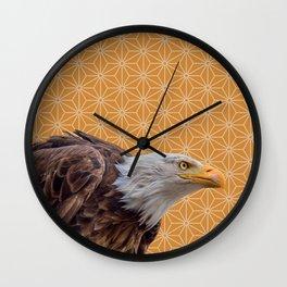 Bald Eagle, Yellow Ochre Pattern montage Wall Clock