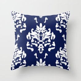 SOPHISTICATED- NAVY IKAT Throw Pillow