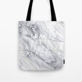 Bears Beets Battlestar Galactica (Marble) Tote Bag