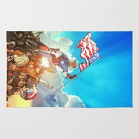 avenger Area & Throw Rugs featuring Captain (Avenger) America by Brian Hollins art