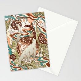 Jurassic Portal | Retro Rainbow Palette | Dinosaur Science Fiction Art Stationery Cards