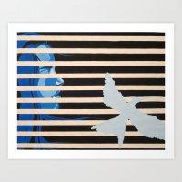 mockingjay Art Prints featuring Mockingjay by Claudia Valenti