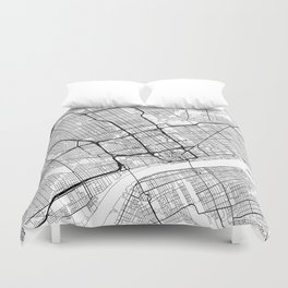Detroit Map White Duvet Cover