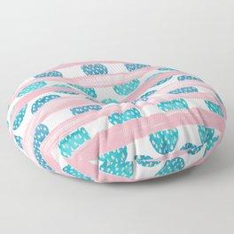 Watercolor geometric pink teal blue brushstrokes polka dots Floor Pillow