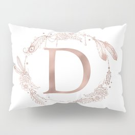 Letter D Rose Gold Pink Initial Monogram Pillow Sham