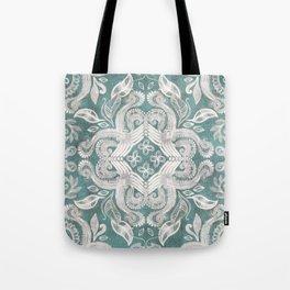 Teal and grey dirty denim textured boho pattern Tote Bag