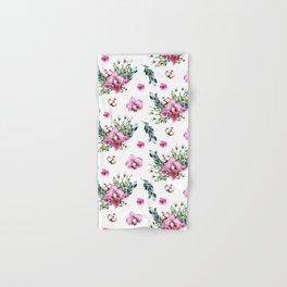 Modern fuchsia green watercolor country floral Hand & Bath Towel
