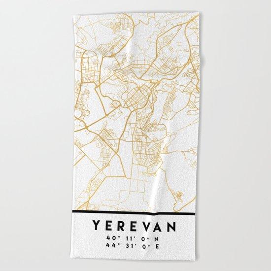YEREVAN ARMENIA CITY STREET MAP ART Beach Towel