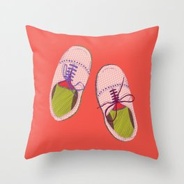 Polka dot shoes Throw Pillow