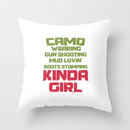 Gamer Videogames Gaming Computer Camo Wearing Shooting Kinda Girl Gifts Throw Pillow