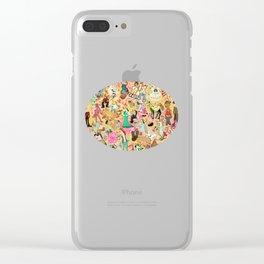 Decoupage Unicorns Clear iPhone Case