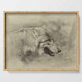 lonesome wolf Serving Tray