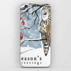 Lonely Owl Christmas Card iPhone & iPod Skin