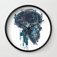 blueprint Wall Clocks featuring Cranial Blueprint by James Beech