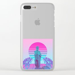 Vaporwave Greek Statue. Giff for fans of physics and Science design Clear iPhone Case